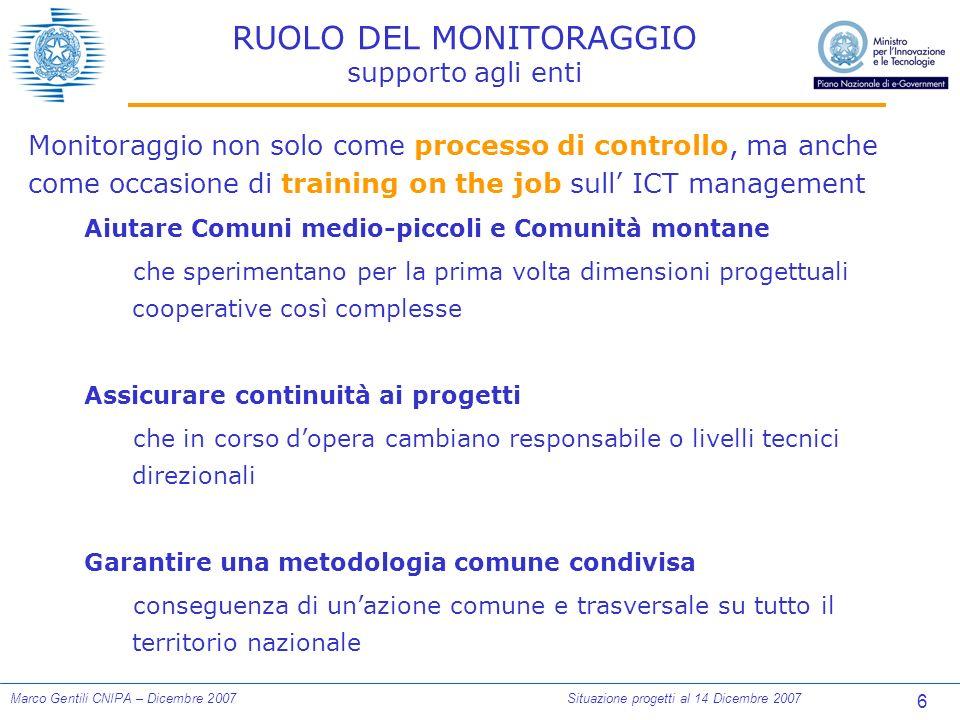 47 Marco Gentili CNIPA – Dicembre 2007Situazione progetti al 14 Dicembre 2007 SERVIZI AI CITTADINI Numero servizi rilasciati per livello interattività Dati su servizi rilasciati dichiarati da 90 progetti, dati previsti riferiti a 95 progetti