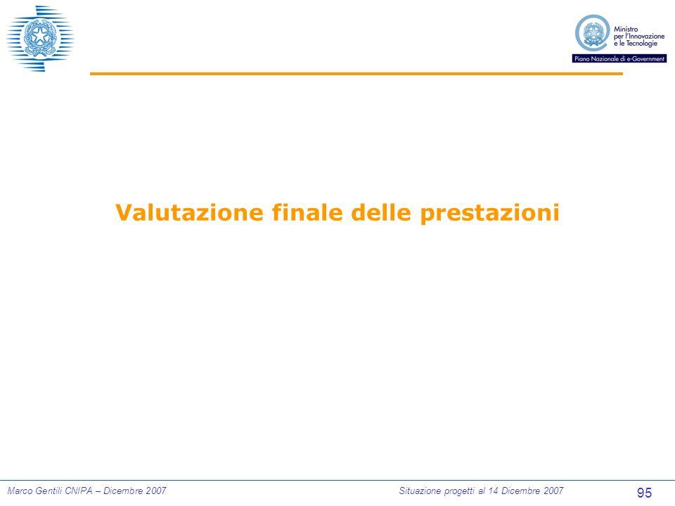 95 Marco Gentili CNIPA – Dicembre 2007Situazione progetti al 14 Dicembre 2007 Valutazione finale delle prestazioni