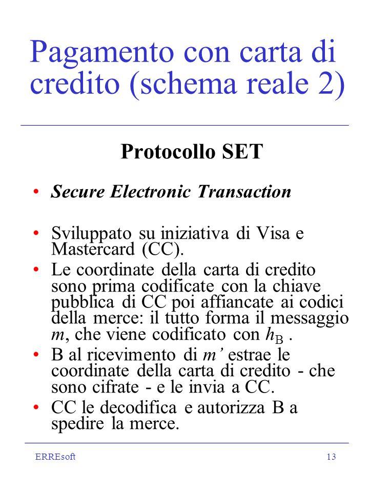 ERREsoft13 Pagamento con carta di credito (schema reale 2) Protocollo SET Secure Electronic Transaction Sviluppato su iniziativa di Visa e Mastercard (CC).