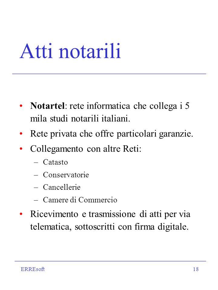 ERREsoft18 Atti notarili Notartel: rete informatica che collega i 5 mila studi notarili italiani.