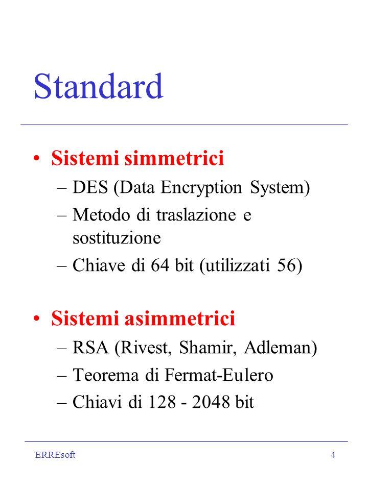 ERREsoft5 Sicurezza delle transazioni I sistemi a due chiavi offrono le maggiori garanzie, ma richiedono elaborazioni complesse: è difficile applicarli se il messaggio è lungo.
