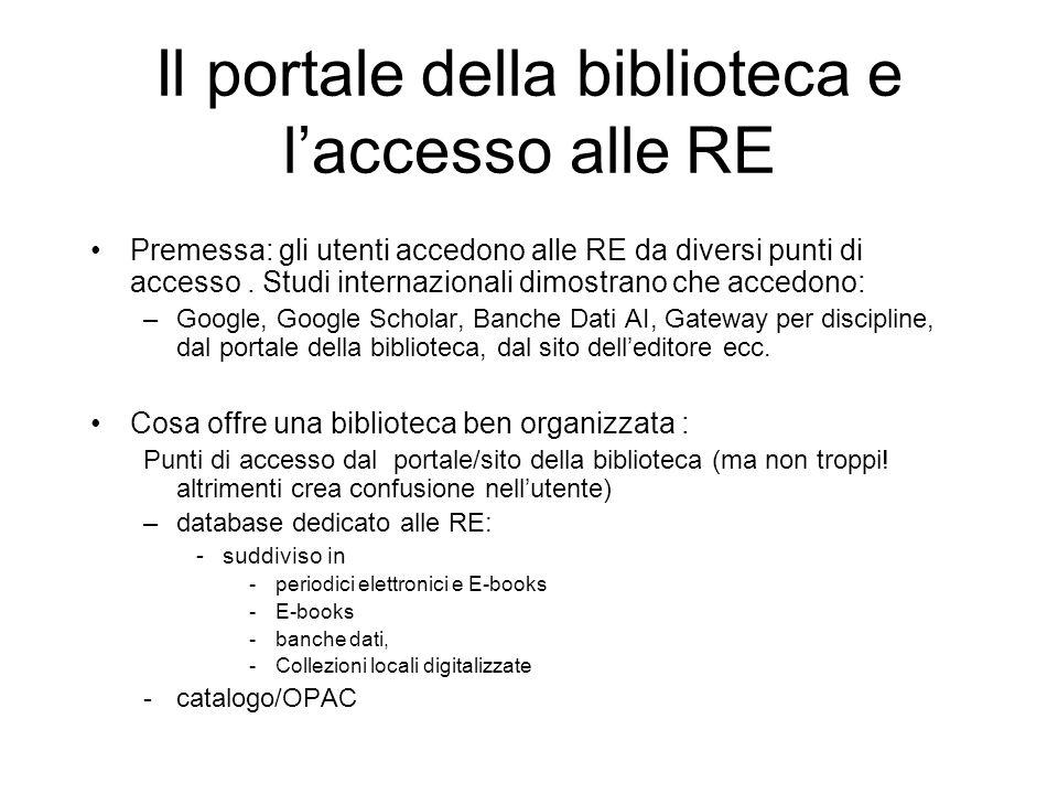 Il portale della biblioteca e laccesso alle RE Premessa: gli utenti accedono alle RE da diversi punti di accesso.
