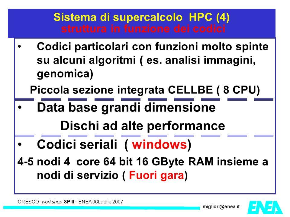 CRESCO – Kick-off meeting LA II – 23 maggio 2006 CRESCO–workshop SPIII– ENEA 06Luglio 2007 migliori@enea.it Sistema di supercalcolo HPC (4) struttura in funzione dei codici Codici particolari con funzioni molto spinte su alcuni algoritmi ( es.