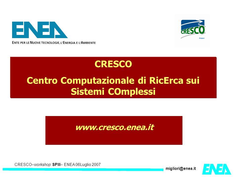 CRESCO – Kick-off meeting LA II – 23 maggio 2006 CRESCO–workshop SPIII– ENEA 06Luglio 2007 migliori@enea.it CRESCO Centro Computazionale di RicErca sui Sistemi COmplessi www.cresco.enea.it