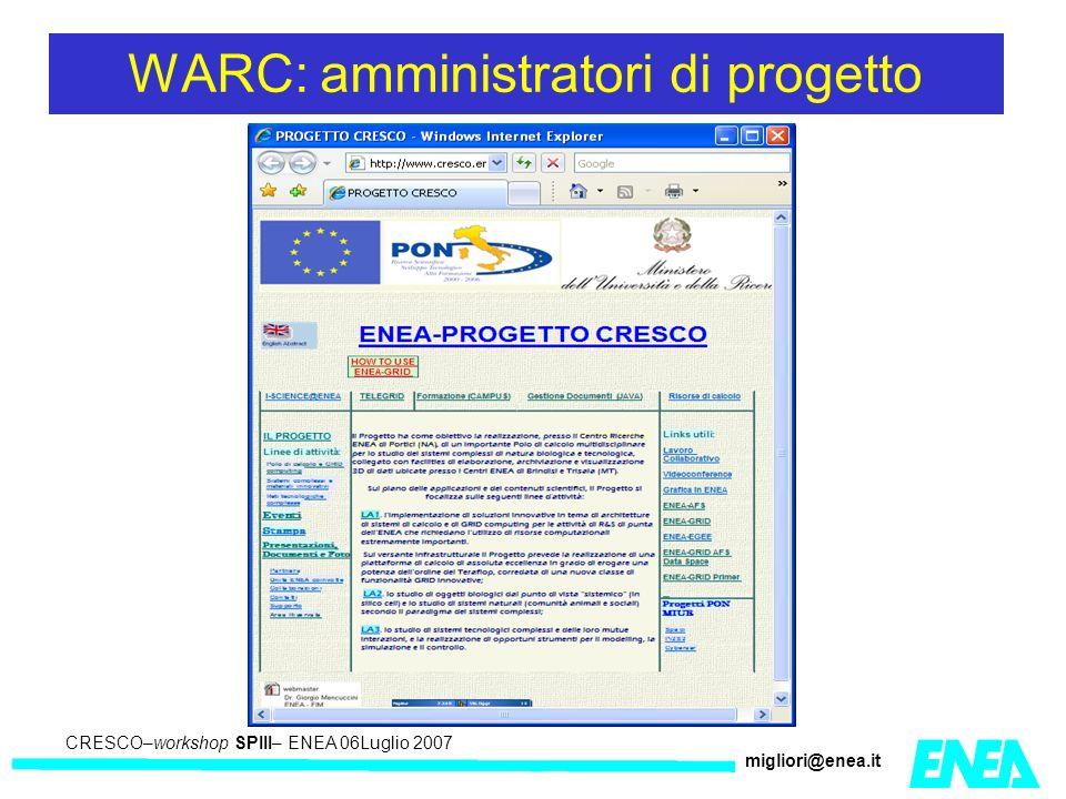 CRESCO – Kick-off meeting LA II – 23 maggio 2006 CRESCO–workshop SPIII– ENEA 06Luglio 2007 migliori@enea.it WARC: amministratori di progetto