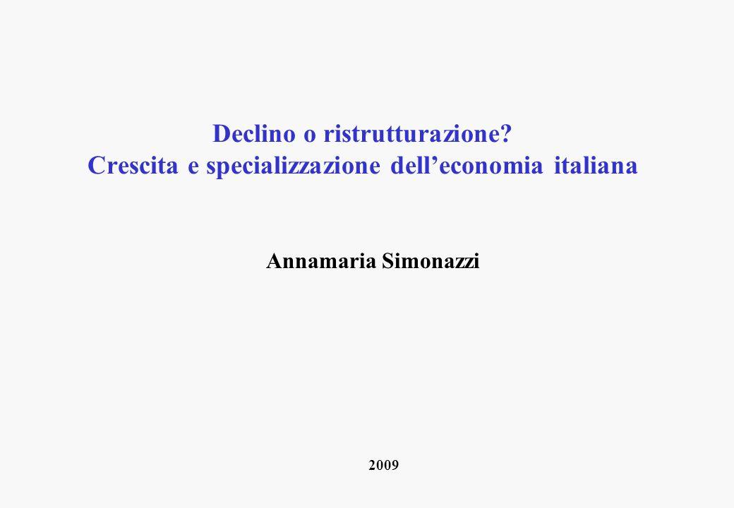 Declino o ristrutturazione? Crescita e specializzazione delleconomia italiana Annamaria Simonazzi 2009