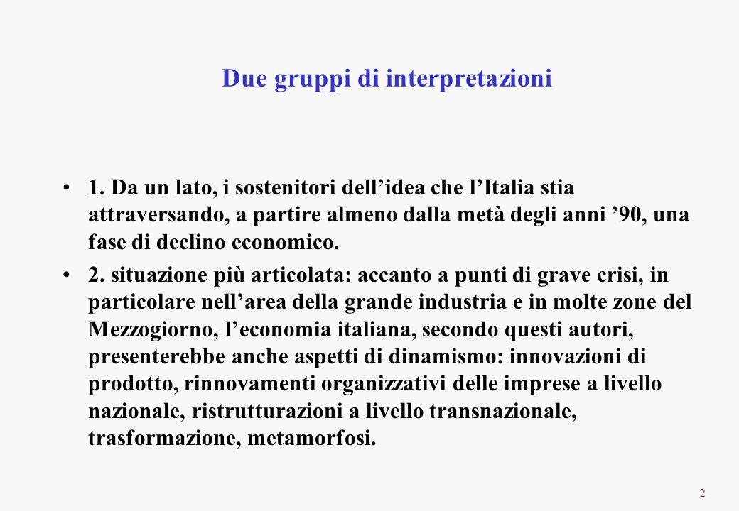 2 Due gruppi di interpretazioni 1. Da un lato, i sostenitori dellidea che lItalia stia attraversando, a partire almeno dalla metà degli anni 90, una f