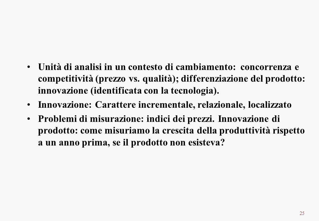 25 Unità di analisi in un contesto di cambiamento: concorrenza e competitività (prezzo vs. qualità); differenziazione del prodotto: innovazione (ident