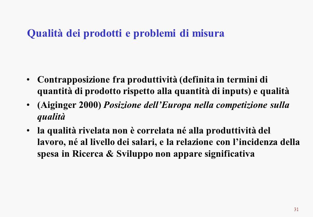 31 Qualità dei prodotti e problemi di misura Contrapposizione fra produttività (definita in termini di quantità di prodotto rispetto alla quantità di