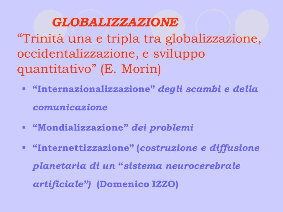 GLOBALIZZAZIONE Trinità una e tripla tra globalizzazione, occidentalizzazione, e sviluppo quantitativo (E. Morin) Internazionalizzazione degli scambi