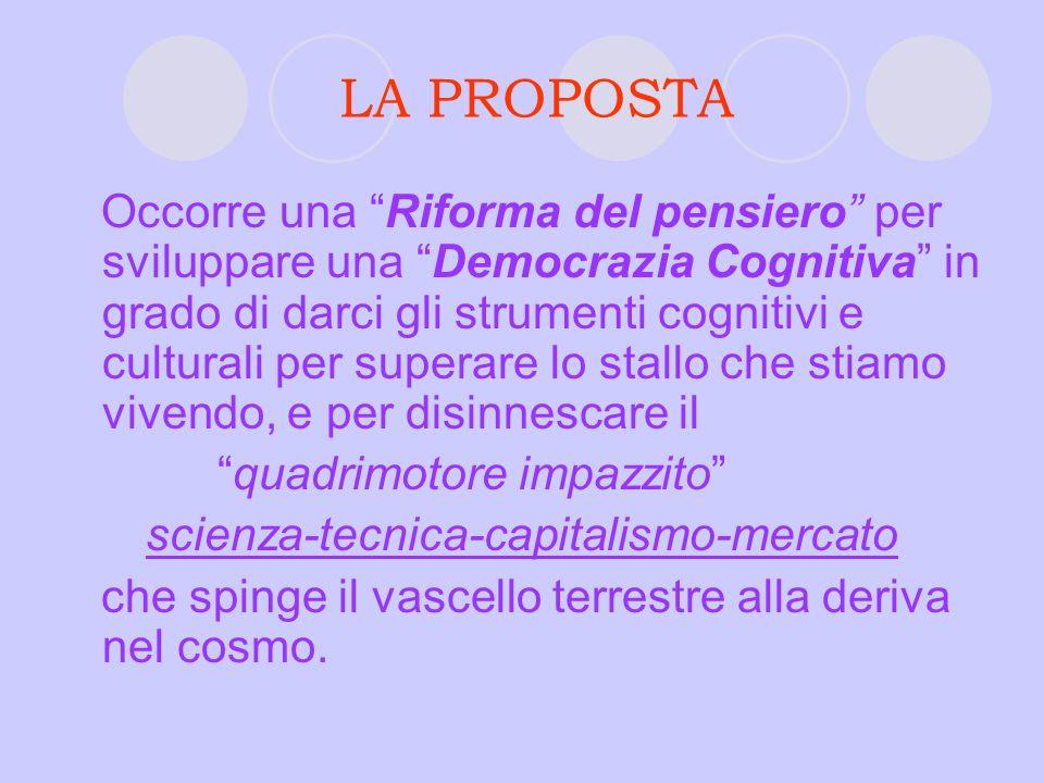 LA PROPOSTA Occorre una Riforma del pensiero per sviluppare una Democrazia Cognitiva in grado di darci gli strumenti cognitivi e culturali per superar
