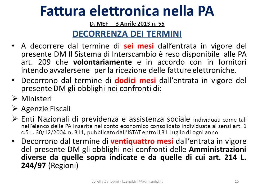 Fattura elettronica nella PA D.MEF 3 Aprile 2013 n.