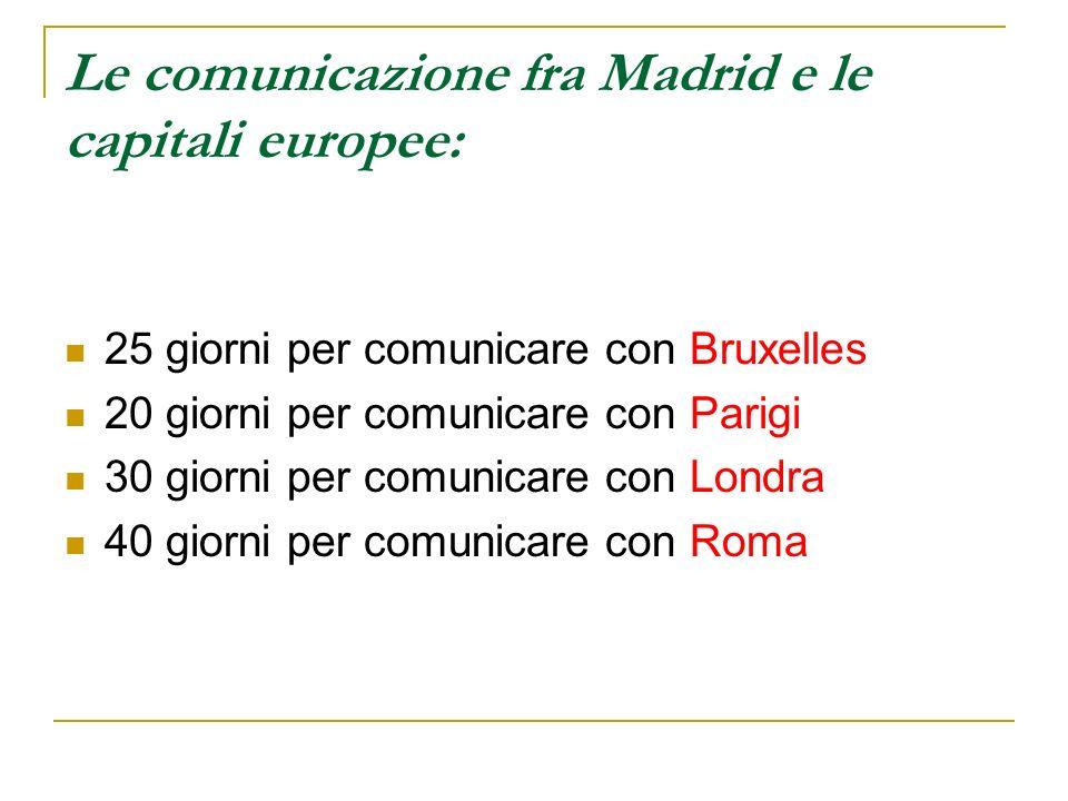 Le comunicazione fra Madrid e le capitali europee: 25 giorni per comunicare con Bruxelles 20 giorni per comunicare con Parigi 30 giorni per comunicare