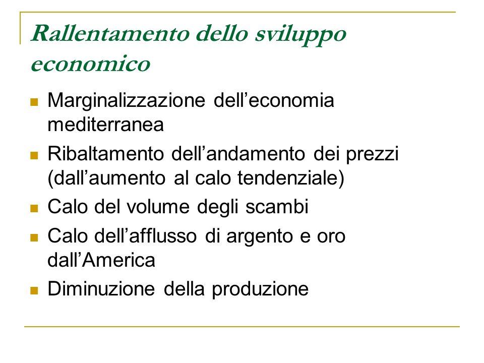 Rallentamento dello sviluppo economico Marginalizzazione delleconomia mediterranea Ribaltamento dellandamento dei prezzi (dallaumento al calo tendenzi