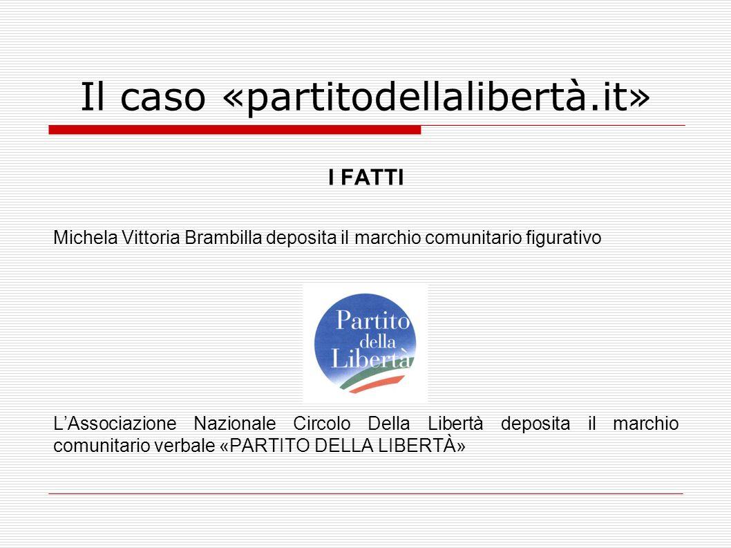Il caso «partitodellalibertà.it» I FATTI Michela Vittoria Brambilla deposita il marchio comunitario figurativo LAssociazione Nazionale Circolo Della L