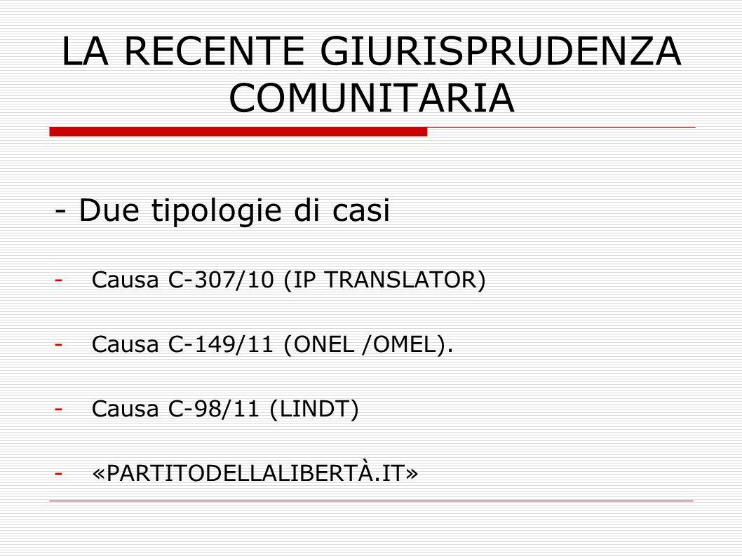 LA RECENTE GIURISPRUDENZA COMUNITARIA - Due tipologie di casi -Causa C-307/10 (IP TRANSLATOR) -Causa C-149/11 (ONEL /OMEL). -Causa C-98/11 (LINDT) -«P