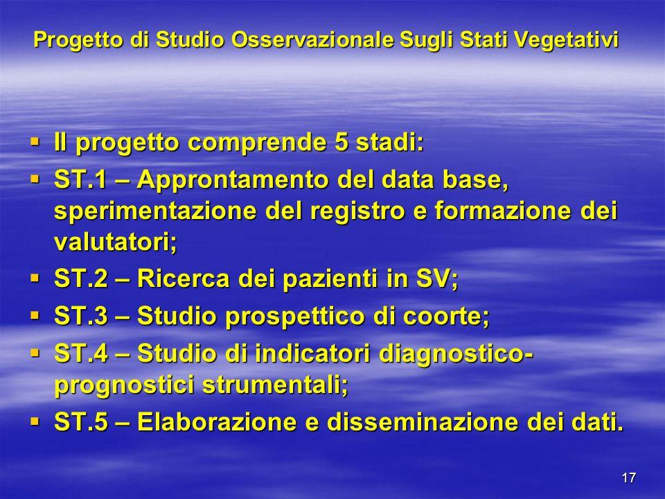 17 Progetto di Studio Osservazionale Sugli Stati Vegetativi Il progetto comprende 5 stadi: Il progetto comprende 5 stadi: ST.1 – Approntamento del dat