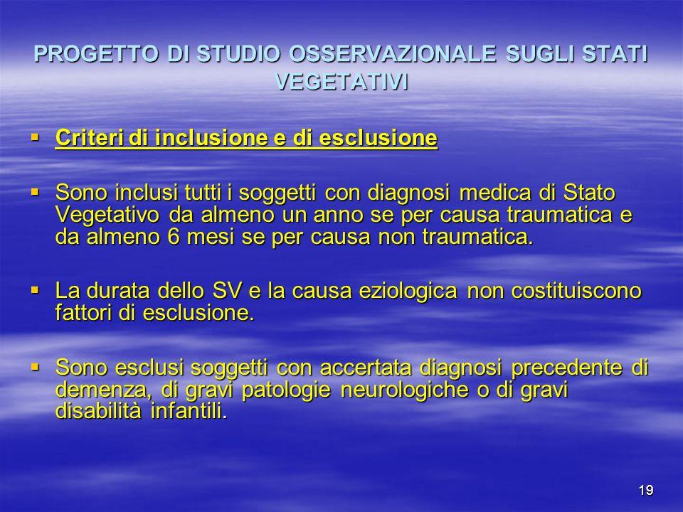 19 PROGETTO DI STUDIO OSSERVAZIONALE SUGLI STATI VEGETATIVI Criteri di inclusione e di esclusione Criteri di inclusione e di esclusione Sono inclusi t