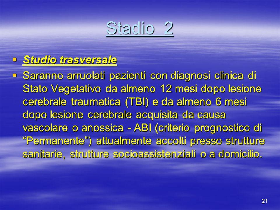 21 Stadio 2 Studio trasversale Studio trasversale Saranno arruolati pazienti con diagnosi clinica di Stato Vegetativo da almeno 12 mesi dopo lesione c