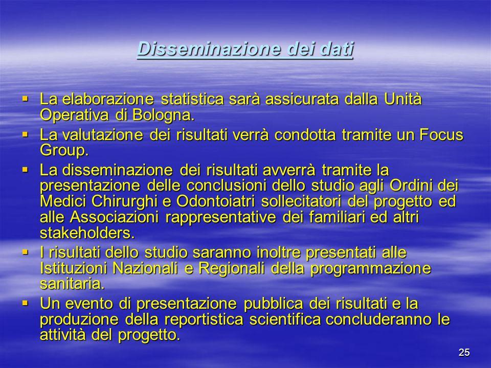25 Disseminazione dei dati La elaborazione statistica sarà assicurata dalla Unità Operativa di Bologna. La elaborazione statistica sarà assicurata dal