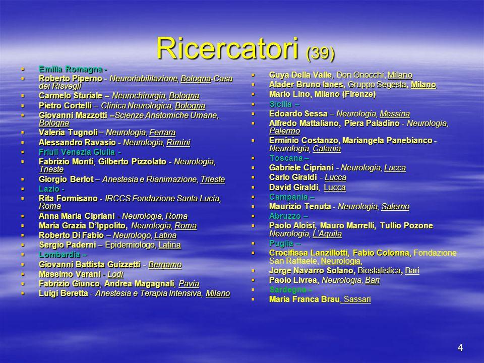 4 Ricercatori (39) Ricercatori (39) Emilia Romagna - Emilia Romagna - Roberto Piperno - Neuroriabilitazione, Bologna-Casa dei Risvegli Roberto Piperno