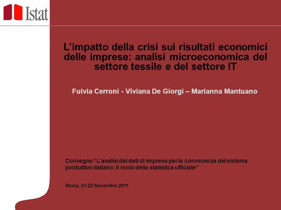 Fulvia Cerroni - Viviana De Giorgi – Marianna Mantuano Limpatto della crisi sui risultati economici delle imprese: analisi microeconomica del settore