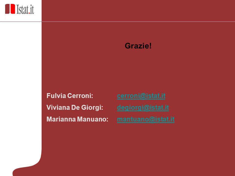 Grazie! Fulvia Cerroni: cerroni@istat.itcerroni@istat.it Viviana De Giorgi: degiorgi@istat.itdegiorgi@istat.it Marianna Manuano: mantuano@istat.itmant