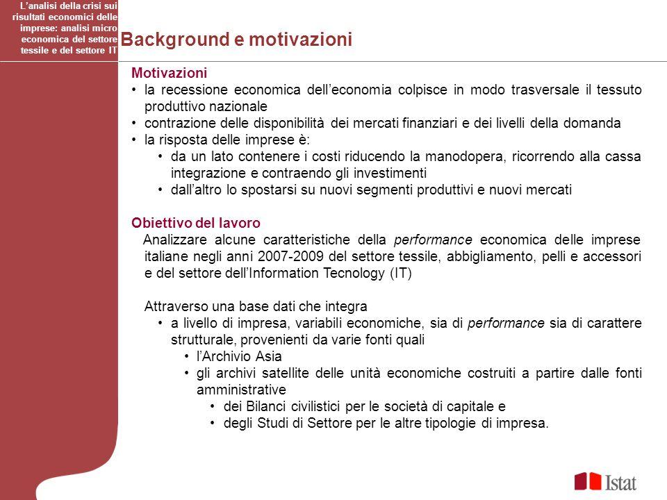 Background e motivazioni Motivazioni la recessione economica delleconomia colpisce in modo trasversale il tessuto produttivo nazionale contrazione del