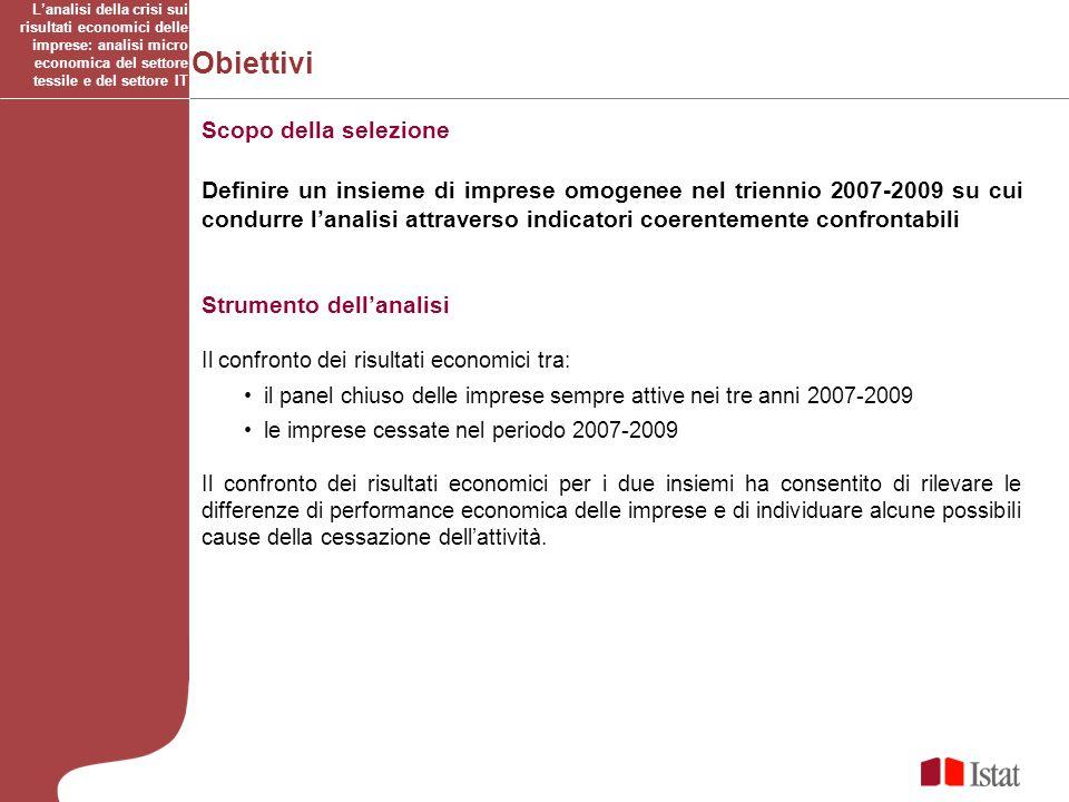 Obiettivi Scopo della selezione Definire un insieme di imprese omogenee nel triennio 2007-2009 su cui condurre lanalisi attraverso indicatori coerente