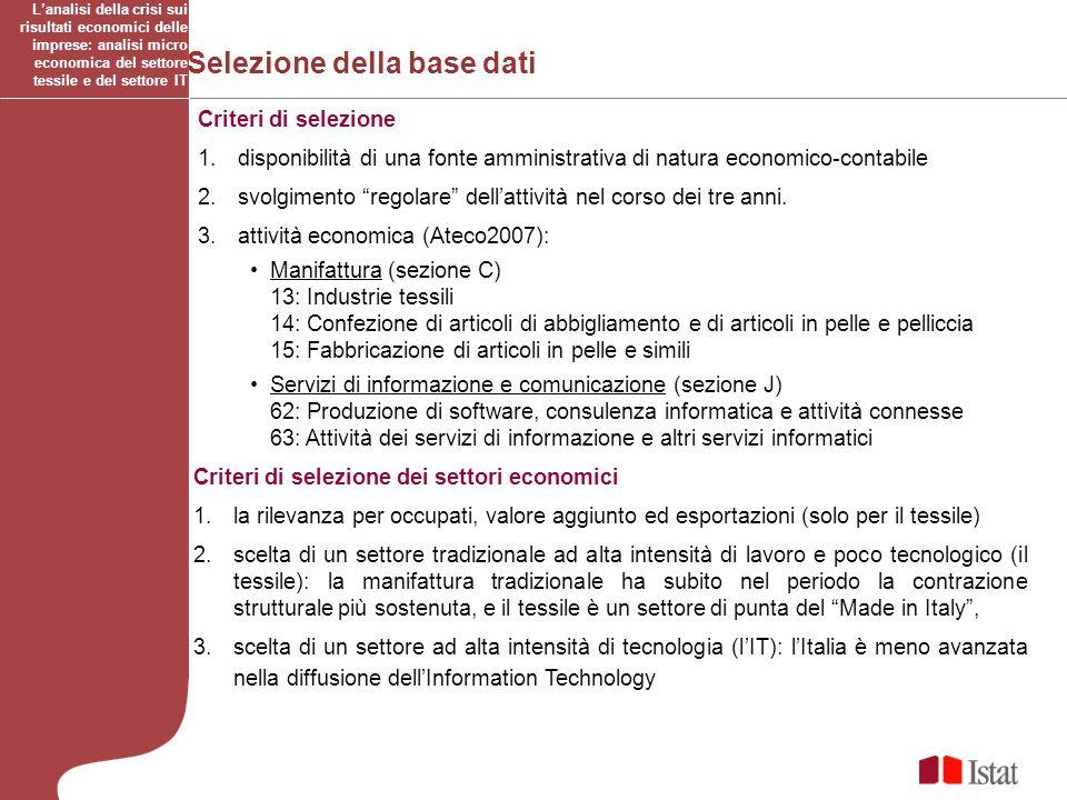 Selezione della base dati Criteri di selezione 1.disponibilità di una fonte amministrativa di natura economico-contabile 2.svolgimento regolare dellat