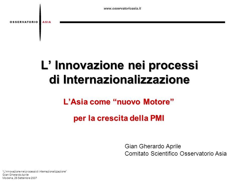 www.osservatorioasia.it L Innovazione nei processi di Internazionalizzazione LAsia come nuovo Motore per la crescita della PMI Gian Gherardo Aprile Co