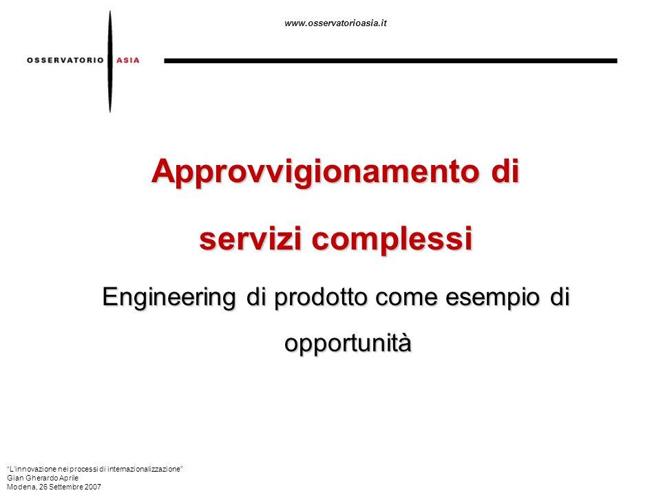 www.osservatorioasia.it Approvvigionamento di servizi complessi Engineering di prodotto come esempio di opportunità Linnovazione nei processi di inter