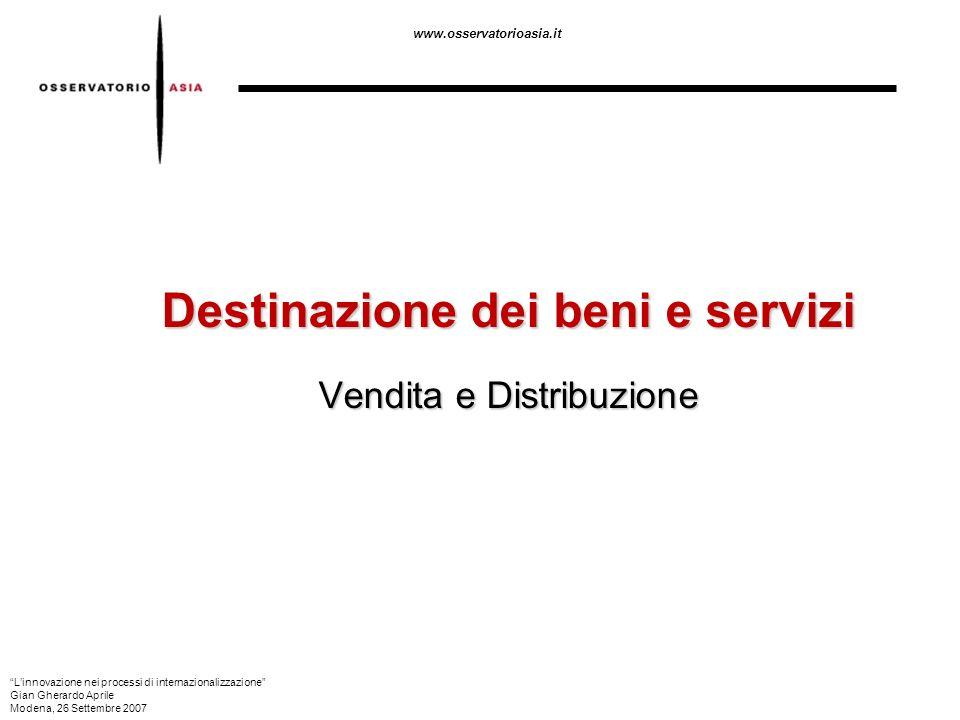 www.osservatorioasia.it Destinazione dei beni e servizi Vendita e Distribuzione Linnovazione nei processi di internazionalizzazione Gian Gherardo Apri