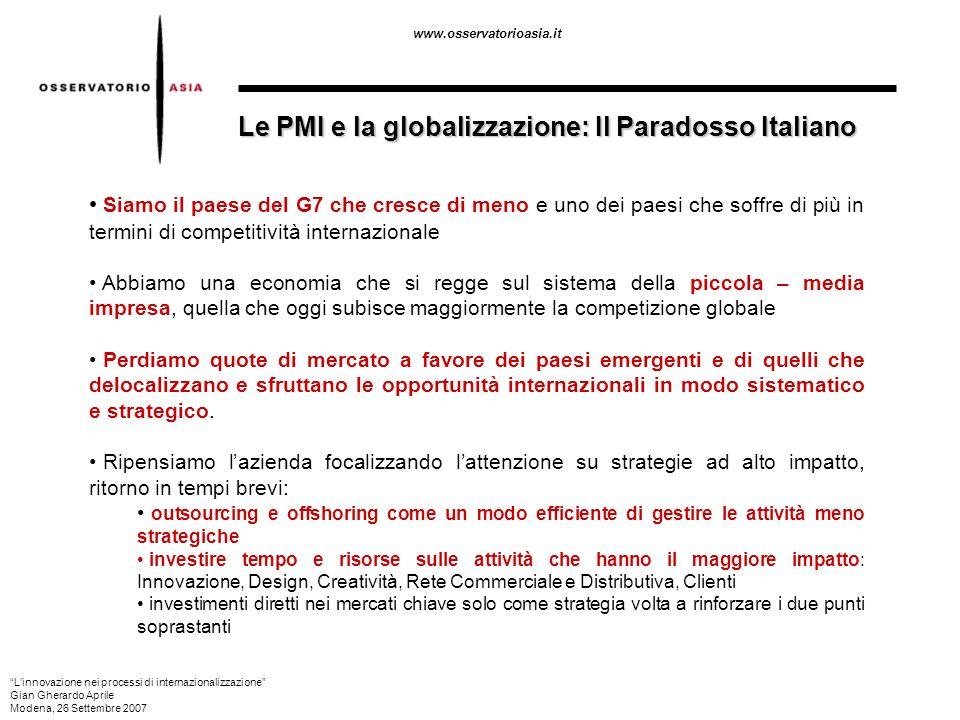 www.osservatorioasia.it Le PMI e la globalizzazione: Il Paradosso Italiano Siamo il paese del G7 che cresce di meno e uno dei paesi che soffre di più