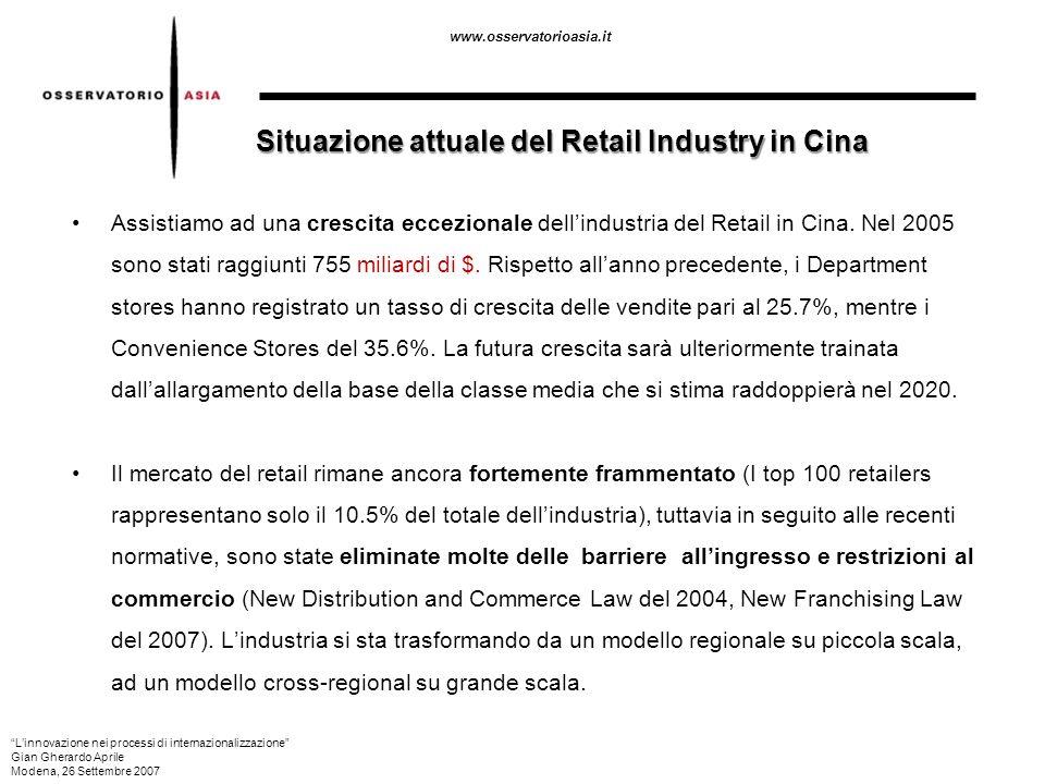 www.osservatorioasia.it Assistiamo ad una crescita eccezionale dellindustria del Retail in Cina. Nel 2005 sono stati raggiunti 755 miliardi di $. Risp