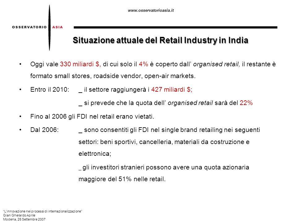 www.osservatorioasia.it Situazione attuale del Retail Industry in India Oggi vale 330 miliardi $, di cui solo il 4% è coperto dall organised retail, i