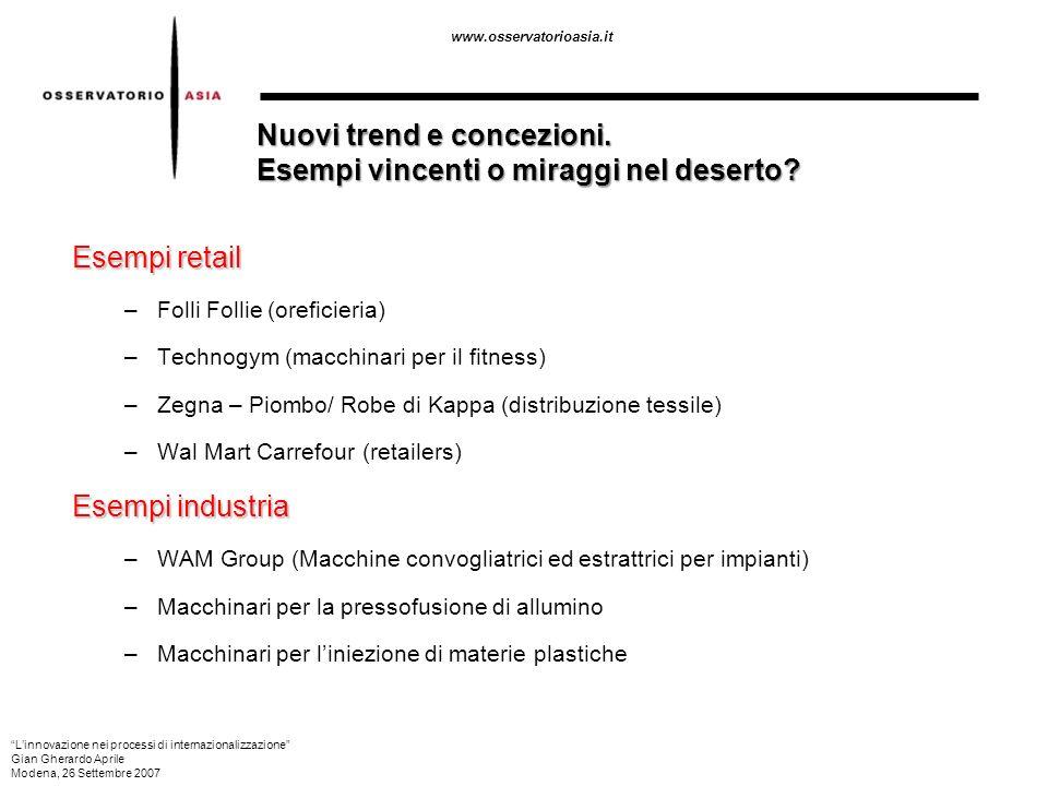 www.osservatorioasia.it Esempi retail –Folli Follie (oreficieria) –Technogym (macchinari per il fitness) –Zegna – Piombo/ Robe di Kappa (distribuzione