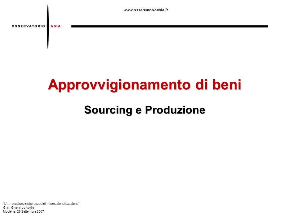 www.osservatorioasia.it Approvvigionamento di beni Sourcing e Produzione Linnovazione nei processi di internazionalizzazione Gian Gherardo Aprile Mode
