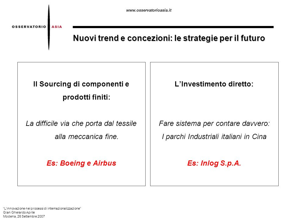 www.osservatorioasia.it Nuovi trend e concezioni: le strategie per il futuro Il Sourcing di componenti e prodotti finiti: La difficile via che porta d