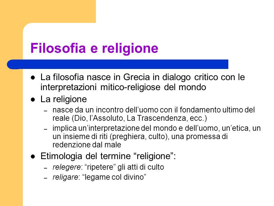 Filosofia e religione La filosofia nasce in Grecia in dialogo critico con le interpretazioni mitico-religiose del mondo La religione – nasce da un inc
