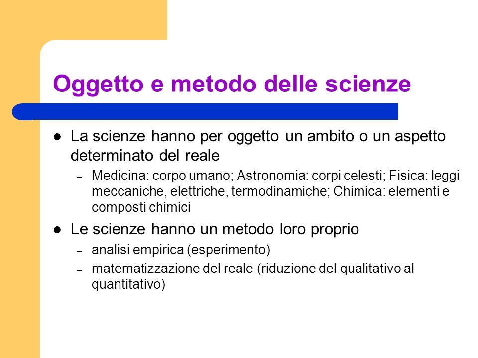 Oggetto e metodo delle scienze La scienze hanno per oggetto un ambito o un aspetto determinato del reale – Medicina: corpo umano; Astronomia: corpi ce