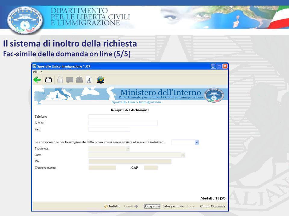 Il sistema di inoltro della richiesta Fac-simile della domanda on line (5/5)