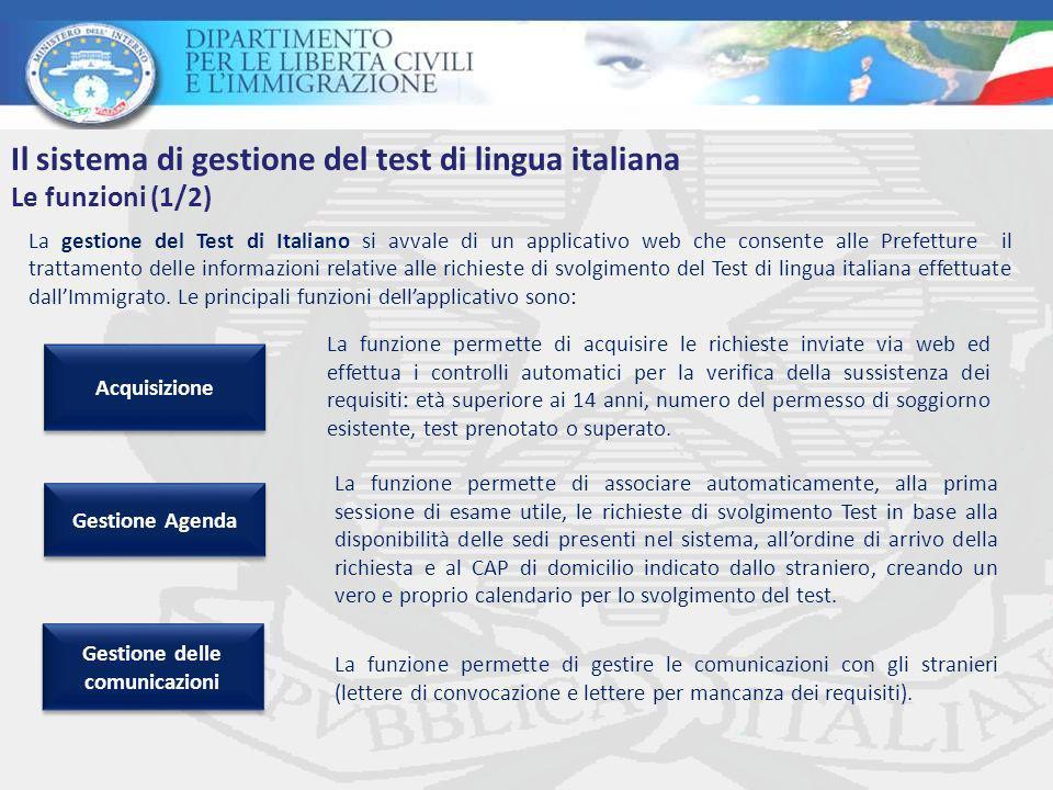 La gestione del Test di Italiano si avvale di un applicativo web che consente alle Prefetture il trattamento delle informazioni relative alle richieste di svolgimento del Test di lingua italiana effettuate dallImmigrato.