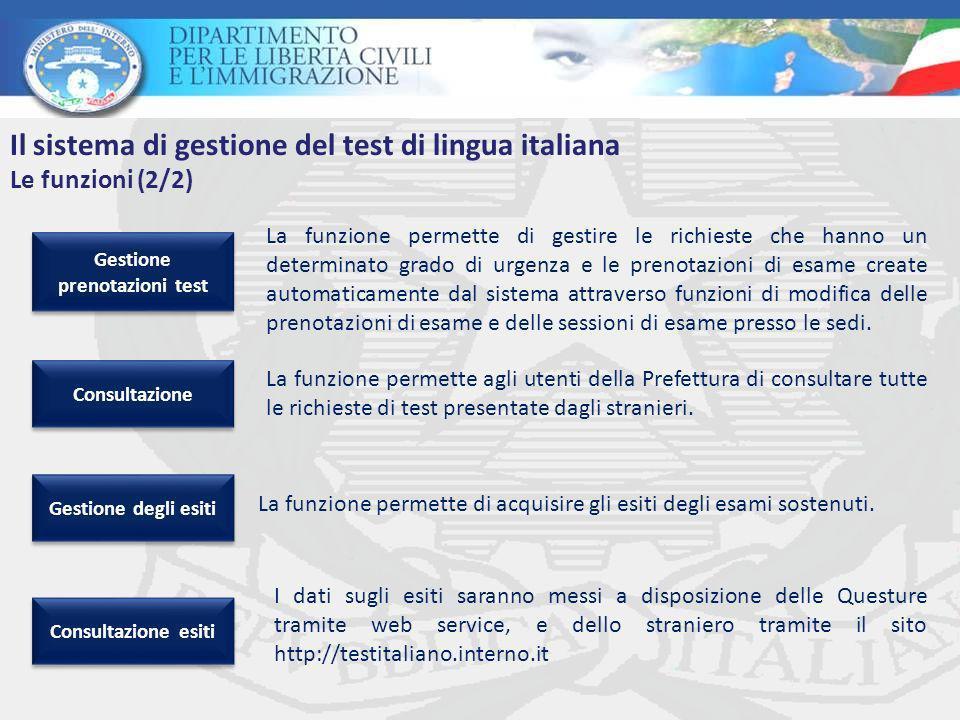 La funzione permette agli utenti della Prefettura di consultare tutte le richieste di test presentate dagli stranieri.