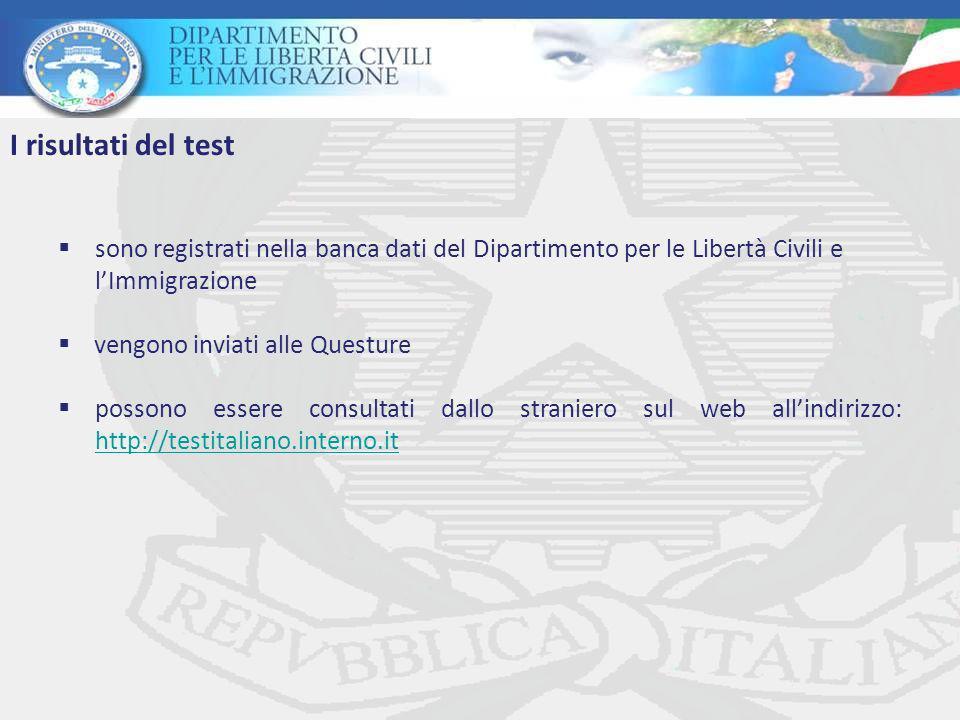 sono registrati nella banca dati del Dipartimento per le Libertà Civili e lImmigrazione vengono inviati alle Questure possono essere consultati dallo straniero sul web allindirizzo: http://testitaliano.interno.it http://testitaliano.interno.it I risultati del test