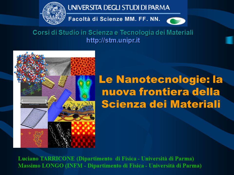Nanotecnologie 1 nm = 1 miliardesimo di metro Aree della Scienza e della tecnologia relative a MATERIALI e STRUTTURE con dimensioni fino a 100 nanometri Quantum Corral (Atomi di Fe su Cu)