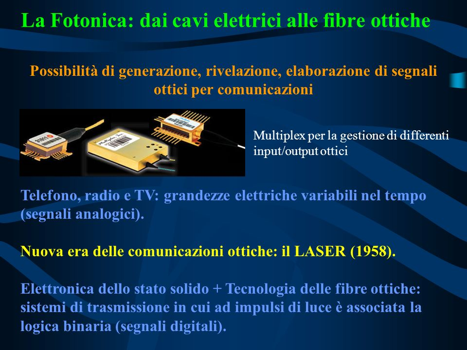 La Fotonica: dai cavi elettrici alle fibre ottiche Possibilità di generazione, rivelazione, elaborazione di segnali ottici per comunicazioni Multiplex