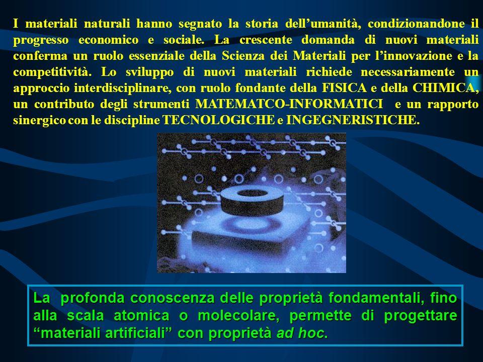 La profonda conoscenza delle proprietà fondamentali, fino alla scala atomica o molecolare, permette di progettare materiali artificiali con proprietà