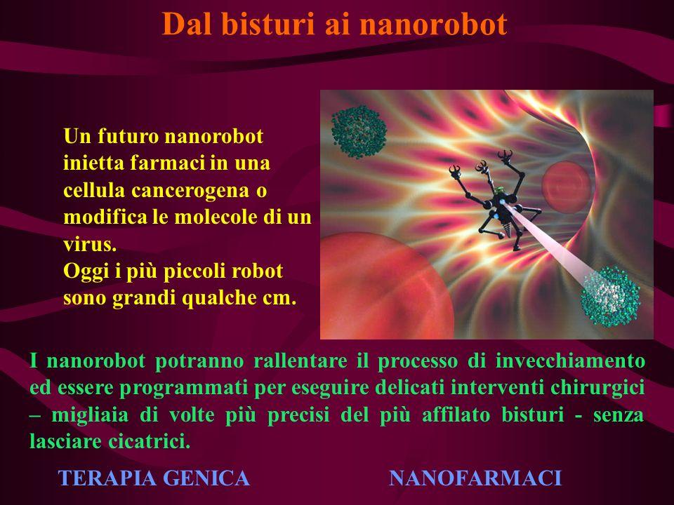 Dal bisturi ai nanorobot Un futuro nanorobot inietta farmaci in una cellula cancerogena o modifica le molecole di un virus. Oggi i più piccoli robot s