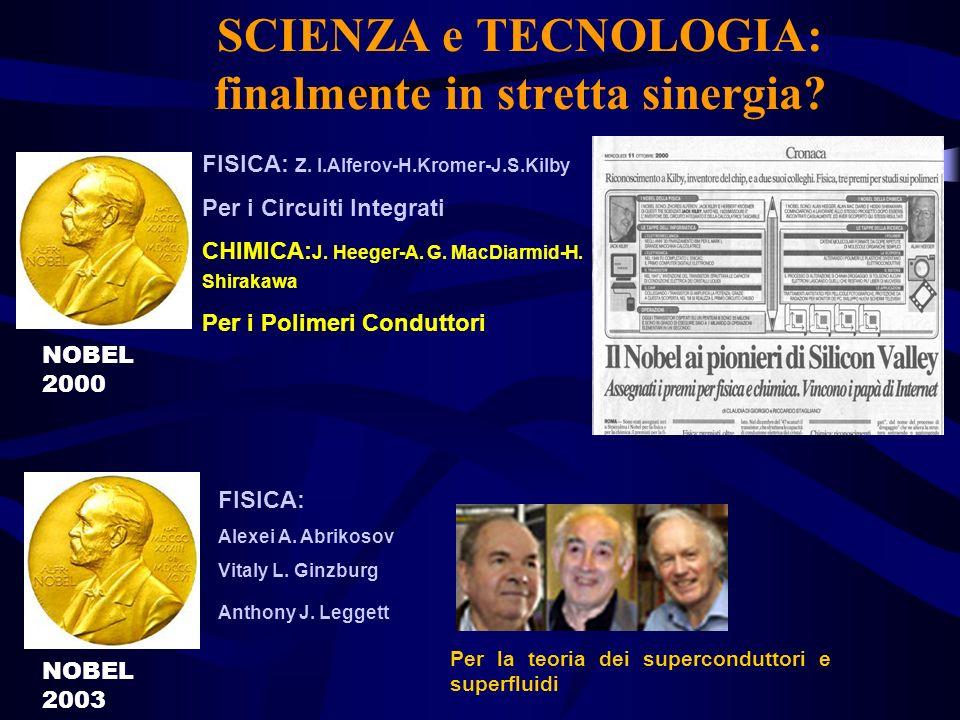 SCIENZA e TECNOLOGIA: finalmente in stretta sinergia? FISICA: Alexei A. Abrikosov Vitaly L. Ginzburg Anthony J. Leggett Per la teoria dei supercondutt